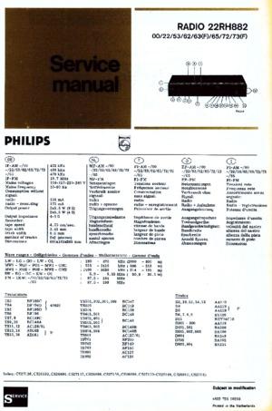 Philips 22RH882 Free service manual pdf Download