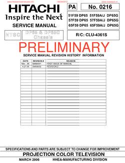 hitachi 51f59 dp65 51f59a j dp65g free service manual pdf download rh freeservicemanuals info Hitachi StarBoard Manual Hitachi TV Service Manual