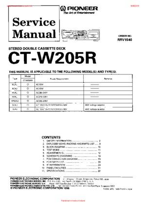 Pioneer CT-W205R Free service manual pdf Download