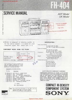 Sony fh-404 инструкция
