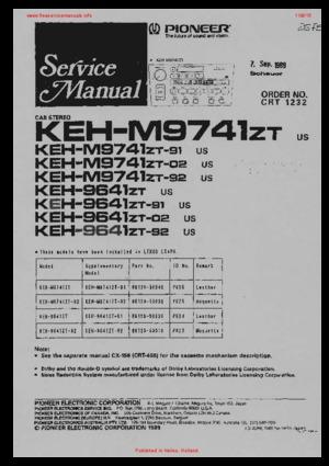 Pioneer KEH-M9741ZT KEH-M9641ZT Free service manual pdf Download