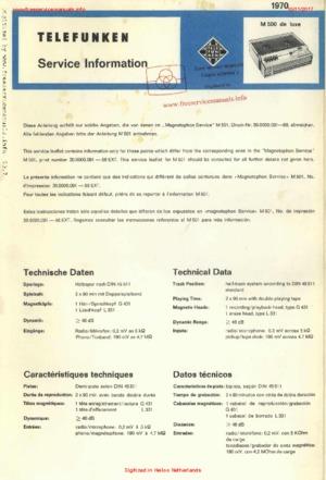 Telefunken M 500 DE LUXE Free service manual pdf Download