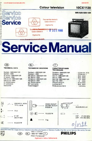 Philips 10CX1120 Free service manual pdf Download