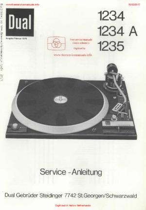 Dual 1234 1234A 1235 Free service manual pdf Download