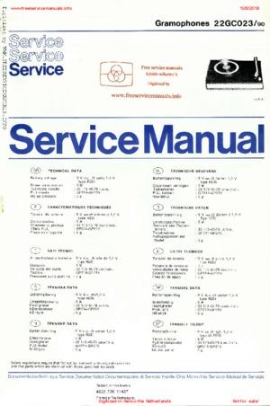 Philips 22GC023 Free service manual pdf Download