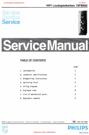 Philips 70FB850 Free service manual pdf Download