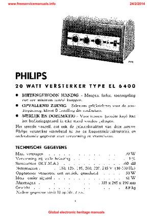 philips el 6400 pa amp user manual