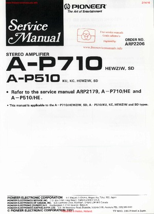 Pioneer A-P710 A-P510 Free service manual pdf Download