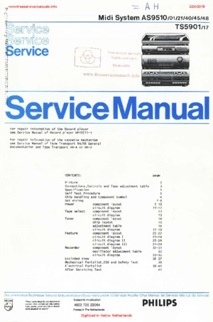 Philips AS9510 Free service manual pdf Download