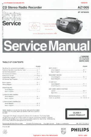 Philips AZ1005 Free service manual pdf Download