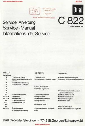 Dual C822 Free service manual pdf Download