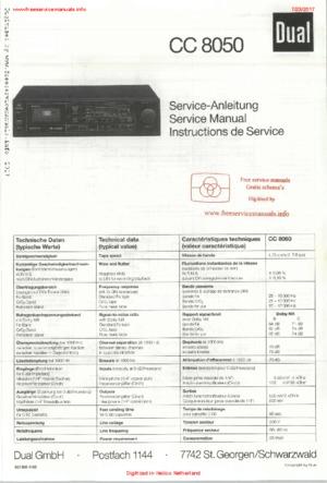 Dual CC8050 Free service manual pdf Download