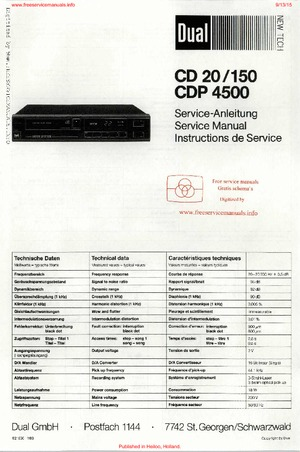 Dual CD20 CD150 CDP4500 Free service manual pdf Download