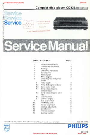Philips CD335 Free service manual pdf Download