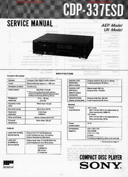 Sony CDP-337ESD Free service manual pdf Download