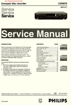 Philips CDR870 Free service manual pdf Download