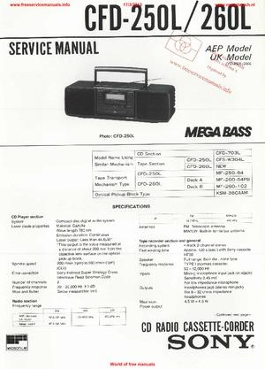 Sony CFD-250L CFD-260L Free service manual pdf Download