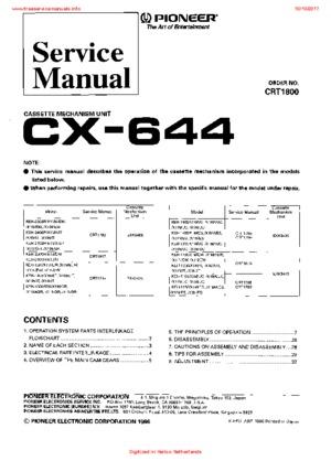 Pioneer CX-644 Free service manual pdf Download