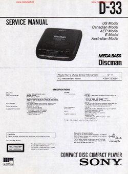 Sony D-33 free Sony service manual Free service manual pdf