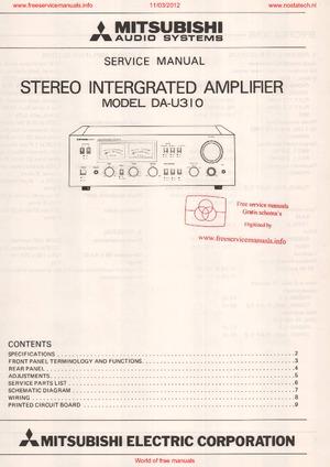 Mitsubishi DA-U310 Free service manual pdf Download