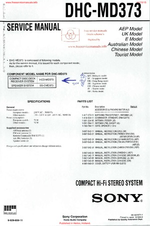 Sony DHC-MD373 Free service manual pdf Download
