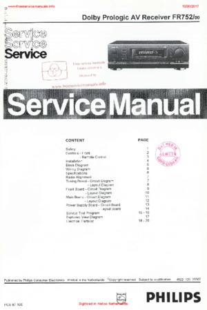 Philips FR752 Free service manual pdf Download