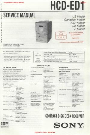 Sony HCD-ED1 free Sony service manual Free service manual