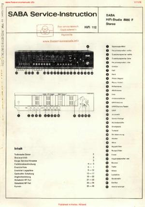 SABA HIFI STUDIO 8080 STEREO F Free service manual pdf Download