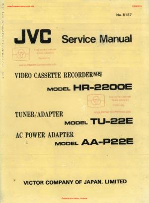 JVC HR-2200E TU-22E AA-P22E Free service manual pdf Download
