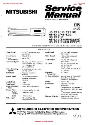 Mitsubishi HS-E12 Free service manual pdf Download
