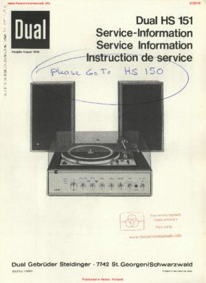 Dual HS151 Free service manual pdf Download