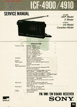 Sony ICF-4900 ICF-4910 Free service manual pdf Download