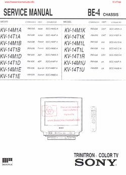 sony kv 14m1a kv 14m1d kv 14t1d kv 14m1e free service manual pdf rh freeservicemanuals info sony trinitron owners manual Old Sony TV Manuals