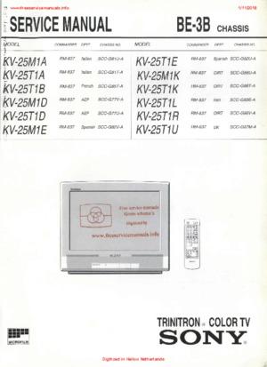 Sony KV-25M1A KV-25T1R KV-25T1U Free service manual pdf Download