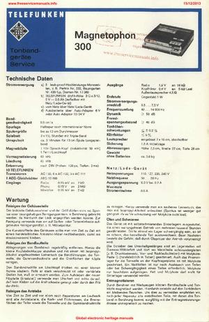 Telefunken MAGNETOPHON 300 Free service manual pdf Download