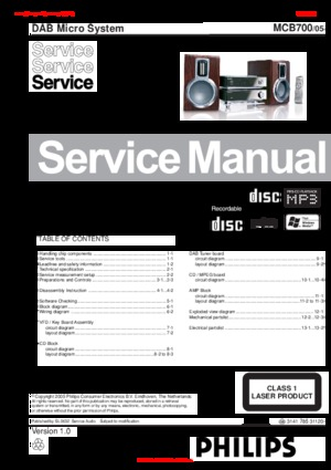 Philips MCB700 Free service manual pdf Download