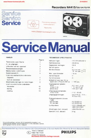 philips n4415 recorder free service manual pdf download rh freeservicemanuals info Service Manuals Service Manuals