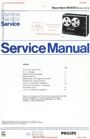 Philips N4419 RECORDER Free service manual pdf Download