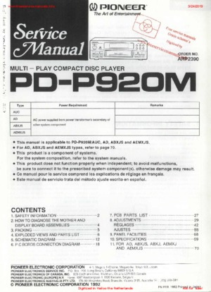 Pioneer PD-P920M Free service manual pdf Download