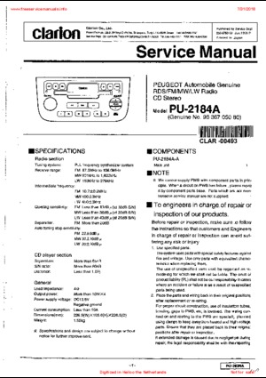 Clarion PU-2184A PEUGEOT Free service manual pdf Download