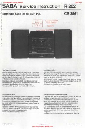 SABA R202 CS 3561 PLL Free service manual pdf Download