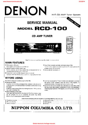 denon RCD-100 Free service manual pdf Download