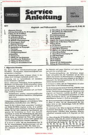 Grundig RECEIVER 40 R 45 50 Free service manual pdf Download