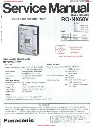 Panasonic RQ-NX60V Free service manual pdf Download