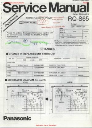 Panasonic RQ-S65 SUPPLEMENT Free service manual pdf Download