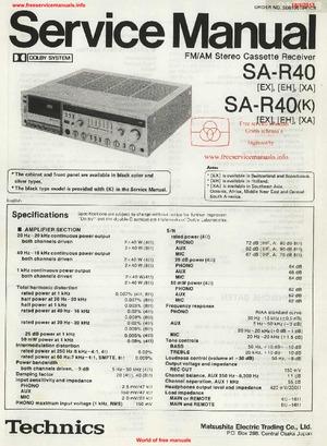 Technics SA-R40 Free service manual pdf Download