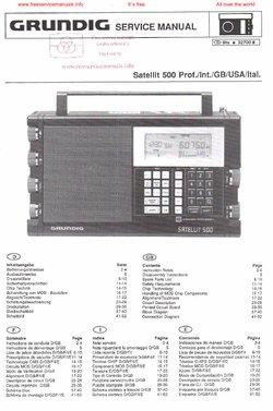 Grundig SATELLIT 500 PROF Free service manual pdf Download