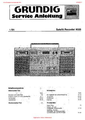 Grundig SATELLIT RECORDER 4000 Free service manual pdf Download