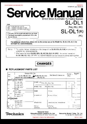 Technics SL-DL1 SL-DL1K Free service manual pdf Download
