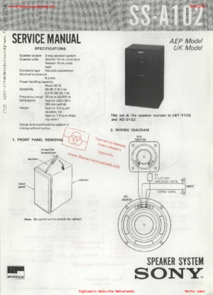 Sony SS-A102 Free service manual pdf Download
